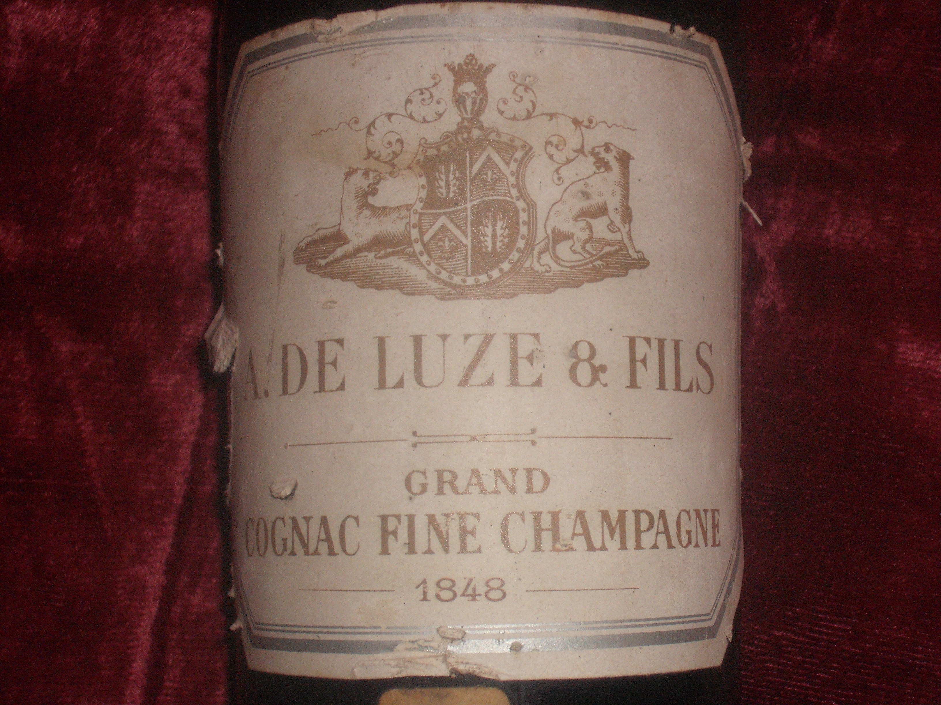 Old A. De Luze & Fils Cognac Fine Champagne is waiting in UK