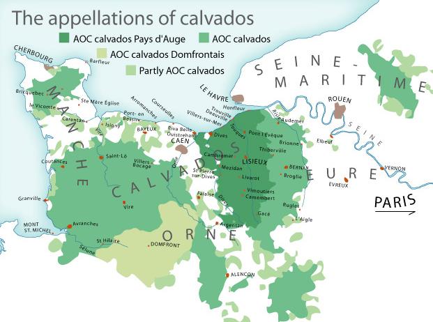 Map of Calvados Appellation