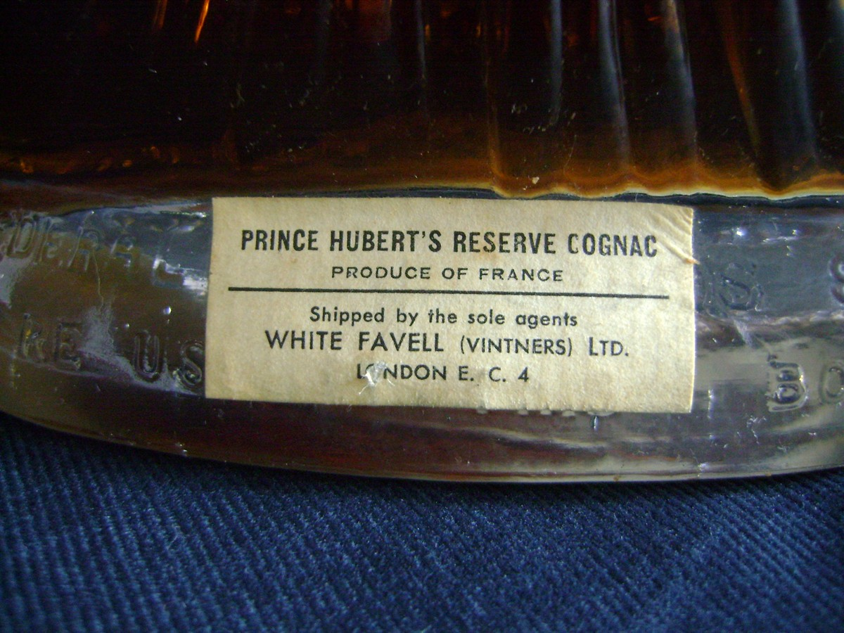 Label of old Prince Hubert Polignac Cognac bottle