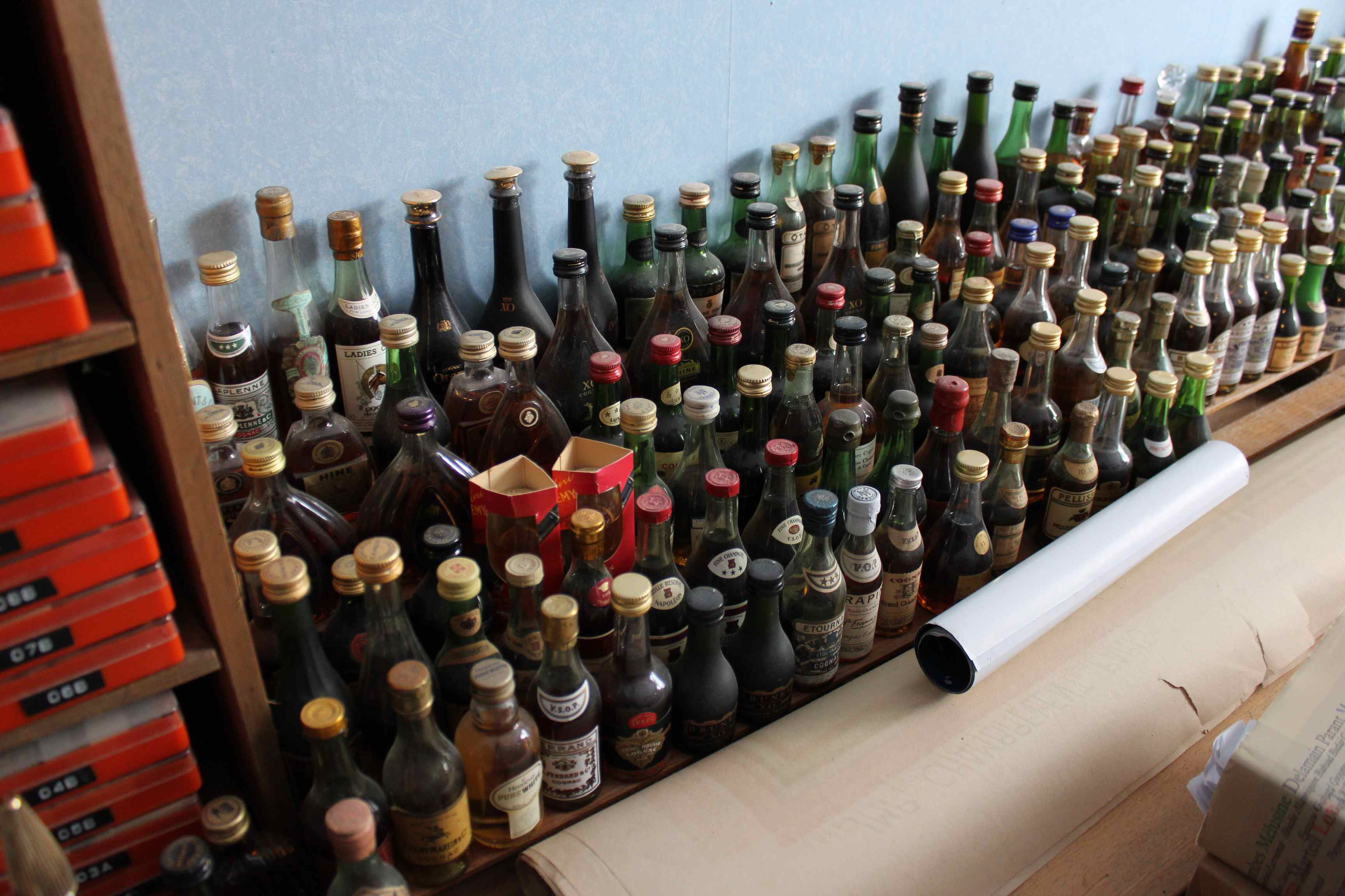 Gigantic mini bottle collection of cognacs