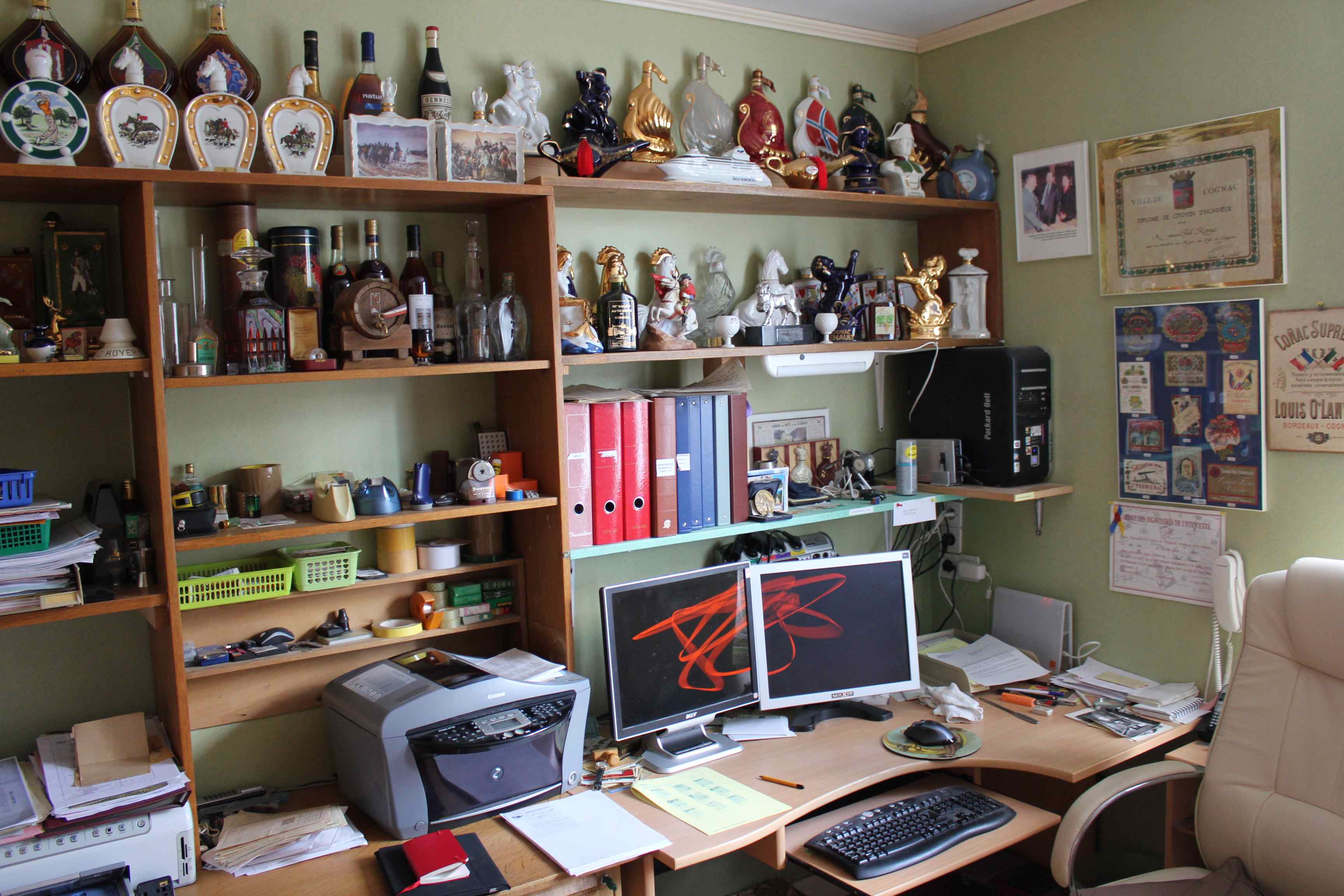 Paul Ronne's work station with various collector bottles