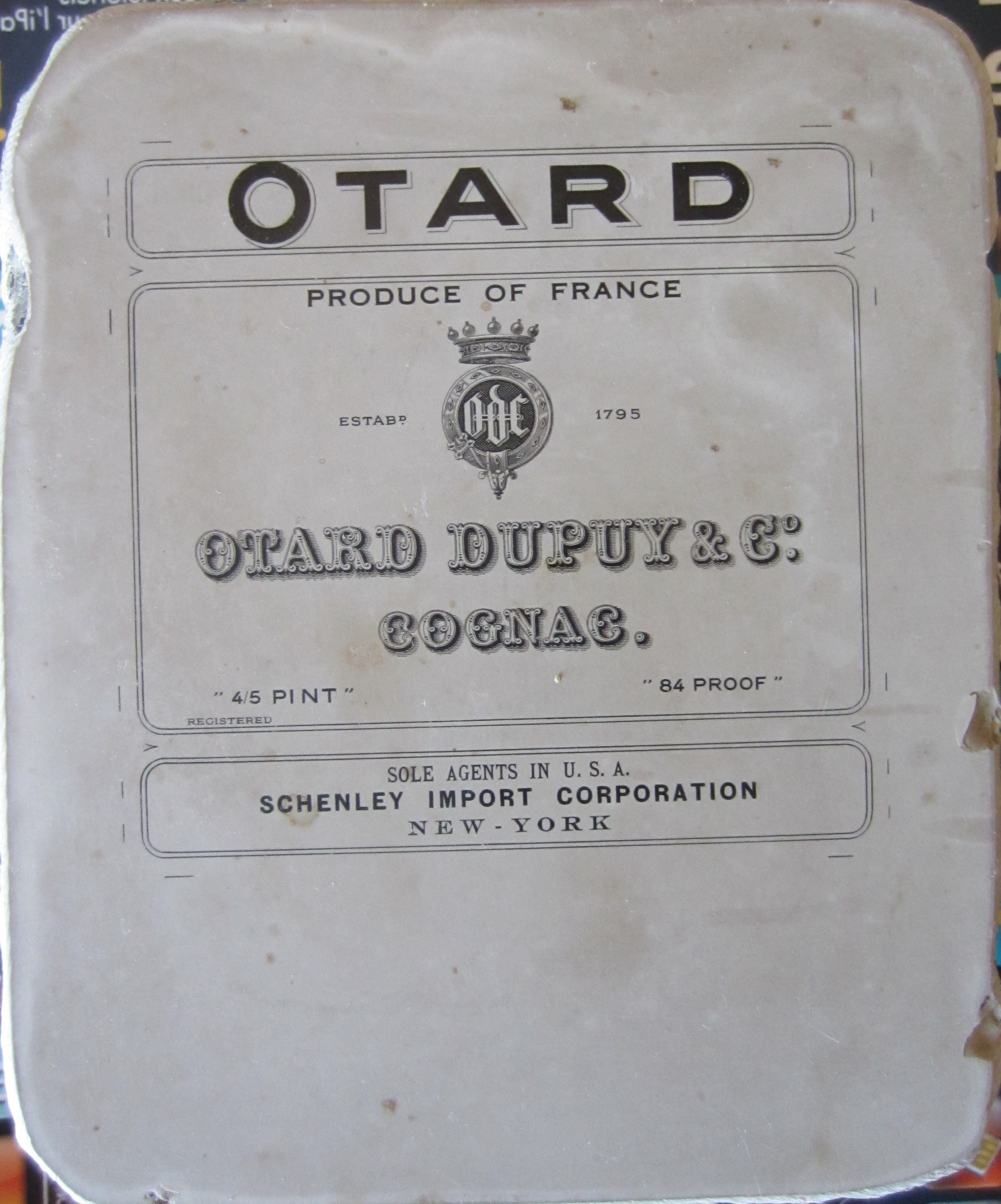 Reader has a Lithographic Stone for Cognac Otard Dupuy Label