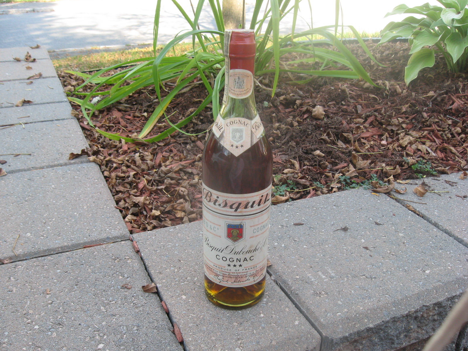 Older Cognac Bottle of Bisquit Dubouché Three Star VS