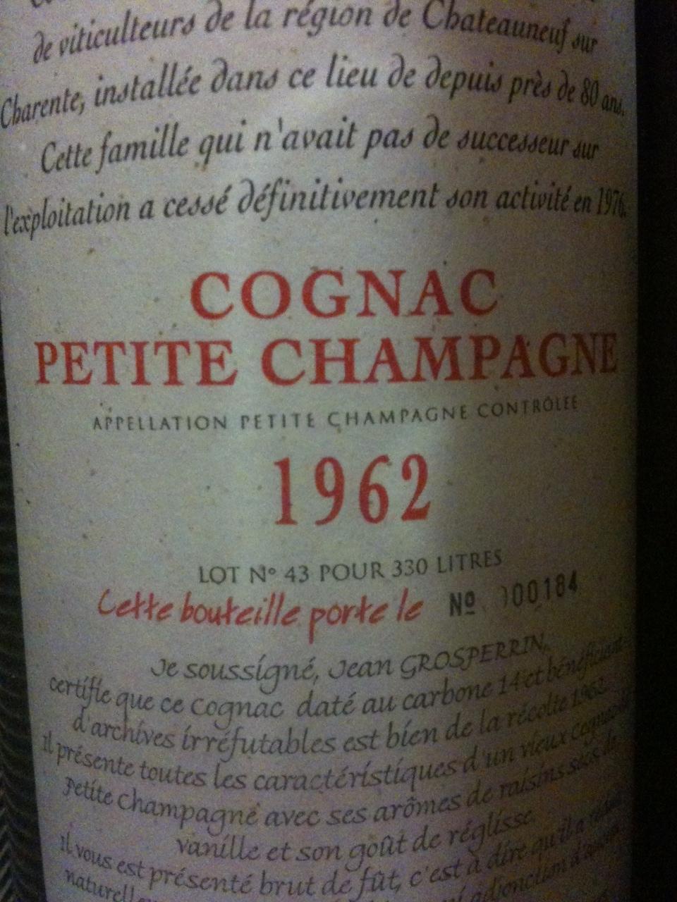 Reader has 1962 Vintage Jean Grosperrin Petite Champagne Cognac