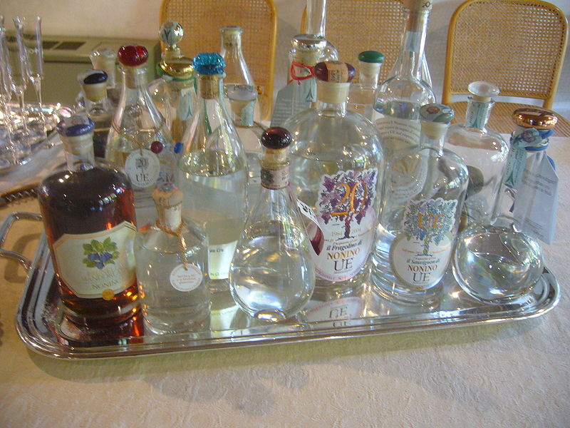 Grappa Brandy types and bottles