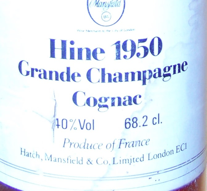 HINE 1950 Grande Champagne Cognac Hatch, Mansfield & Co. Limited, London