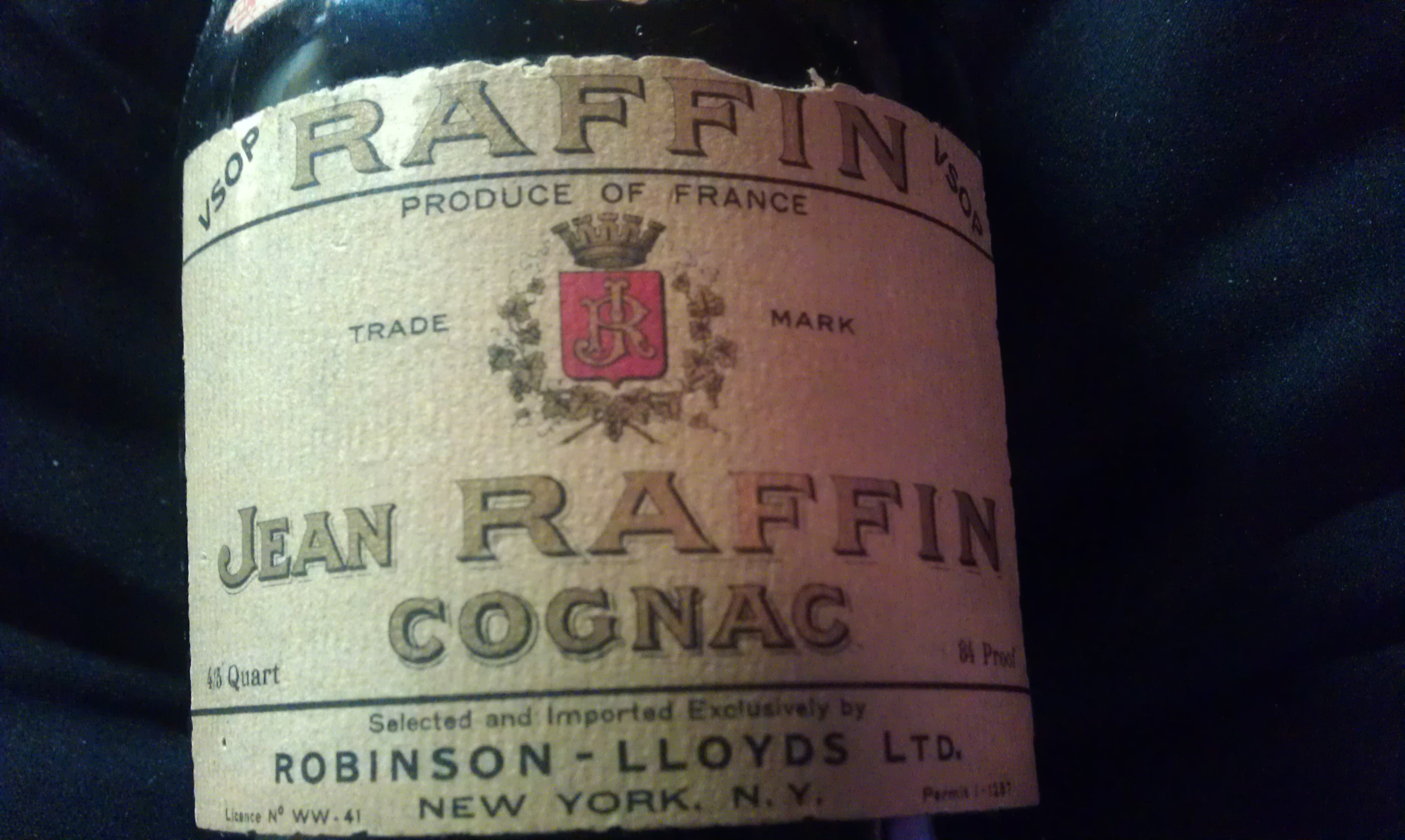 A Reader has a bottle of Jean Raffin Cognac VSOP 20 Years Old