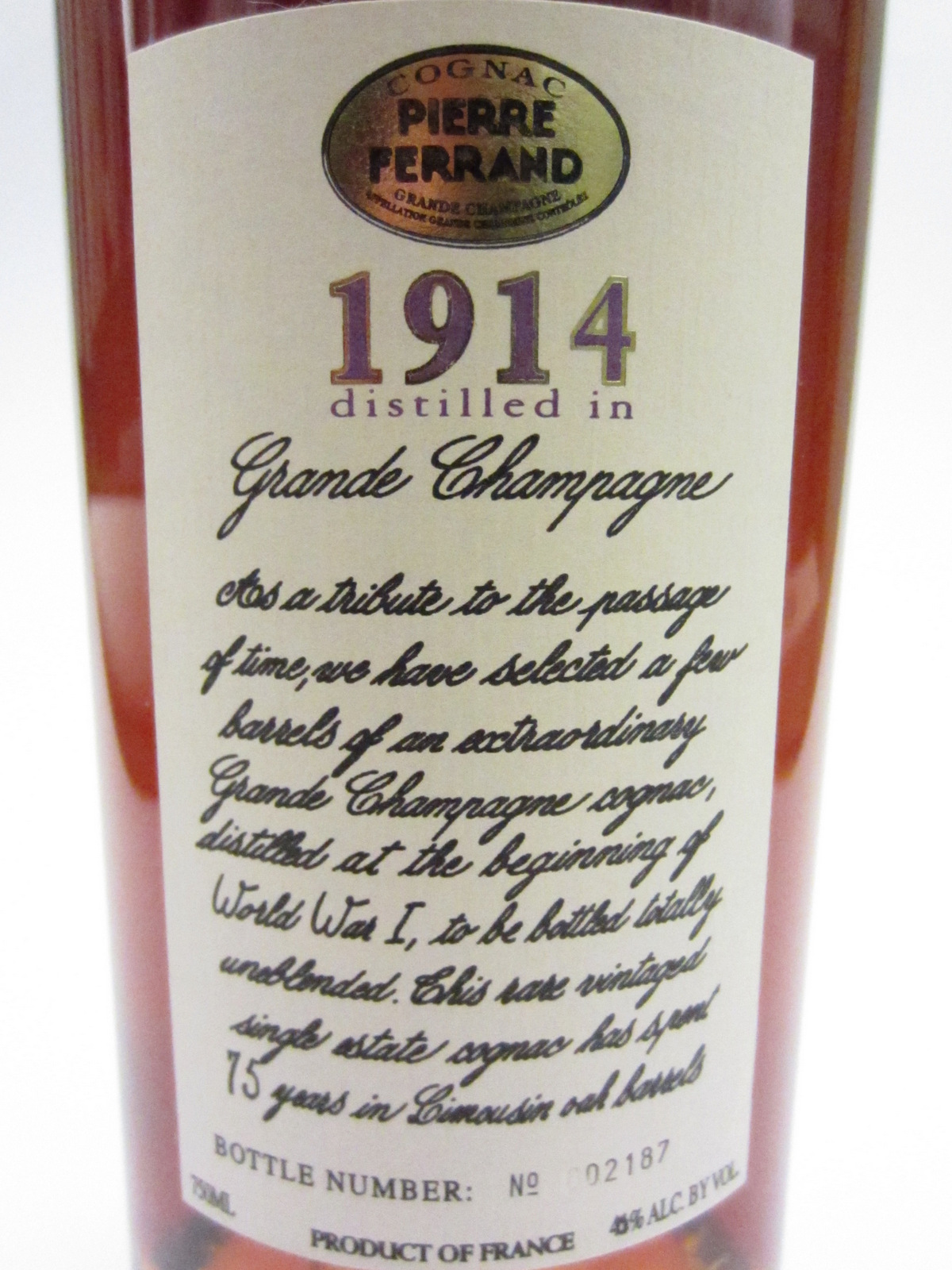 A 1914 Vintage Grande Champagne Cognac by Pierre Ferrand in the cellar