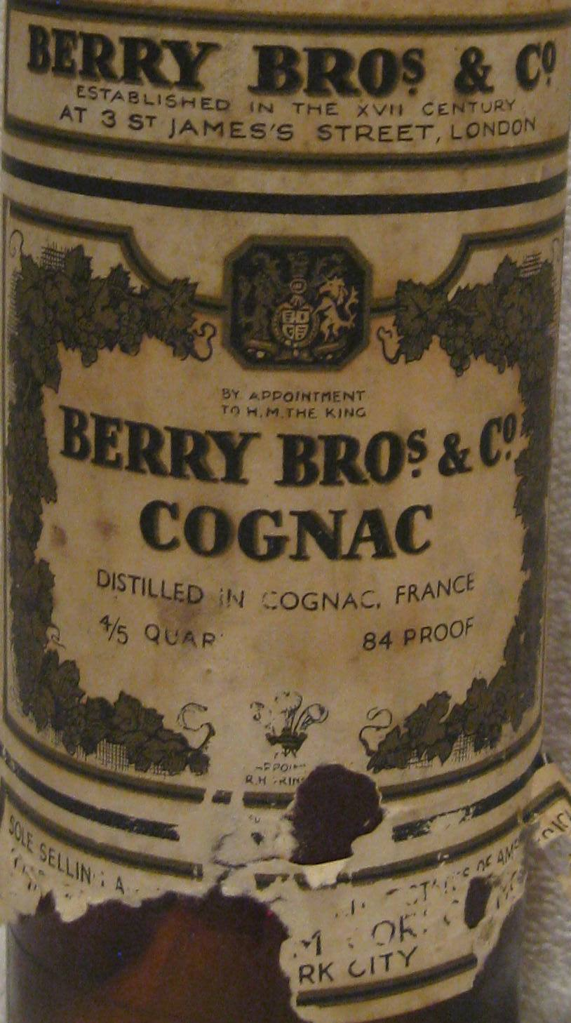Berry Bros & Co Cognac 84 Proof Bottle