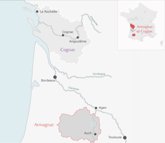 armagnac cognac map