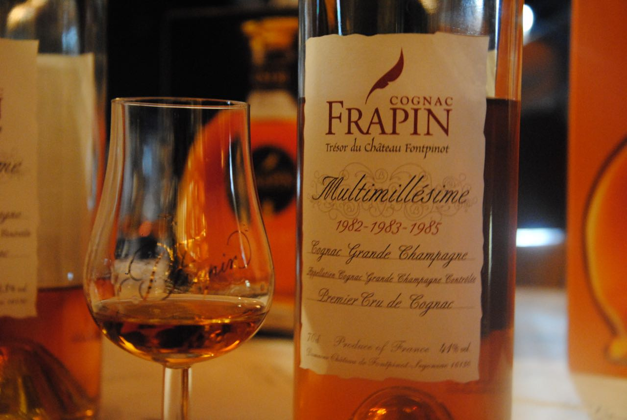 Close up of Frapin Multimillesime Grande Champagne Cognac bottle