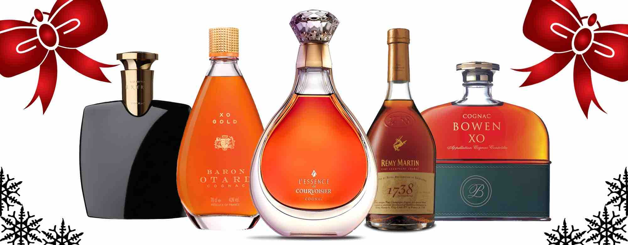 Bottles of Cognac and red ribbons