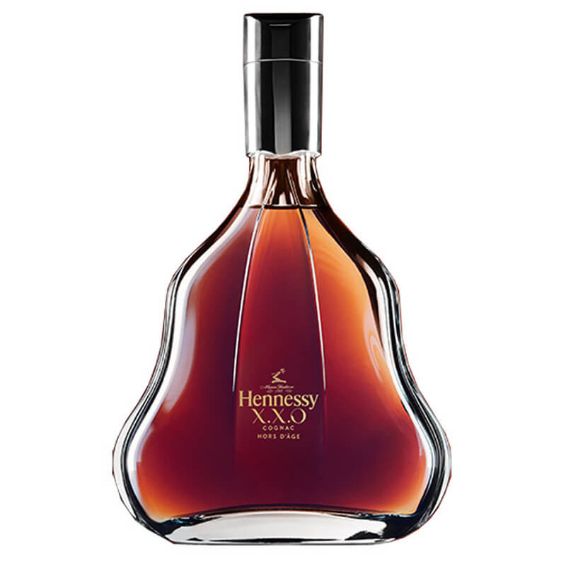 Close up of Hennessy XXO Cognac bottle