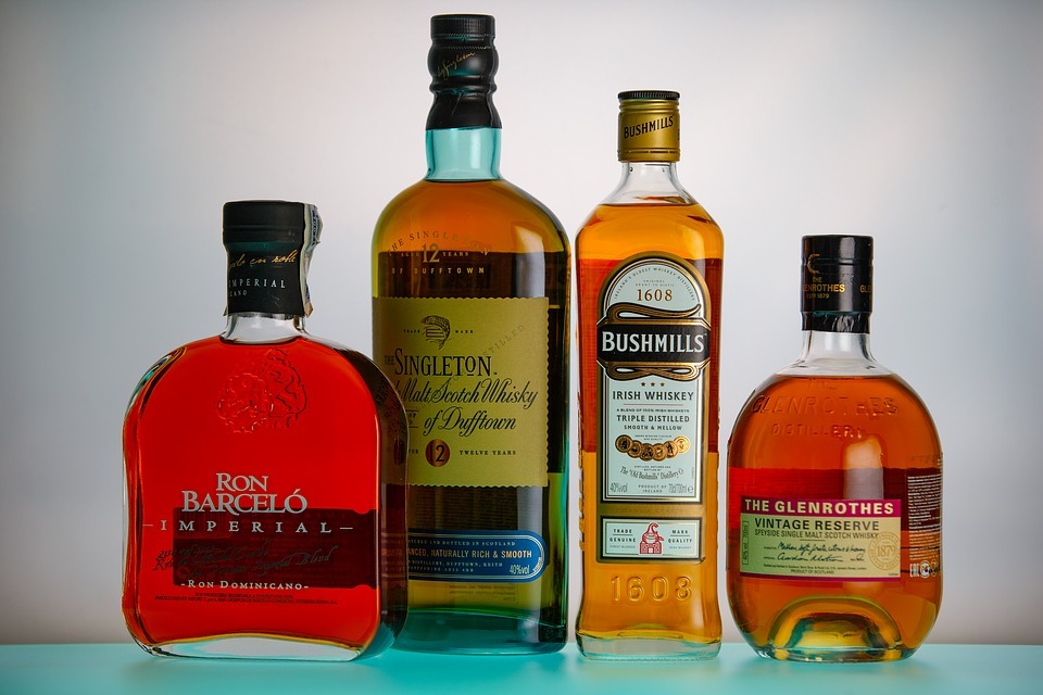 Bottles of rum and whisky