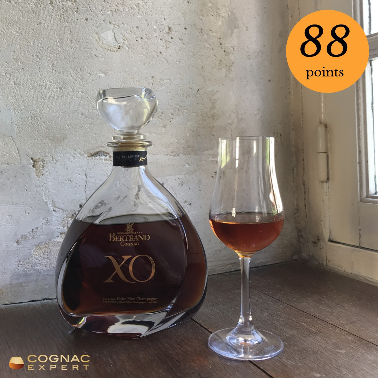 Bertrand XO Cognac and glass