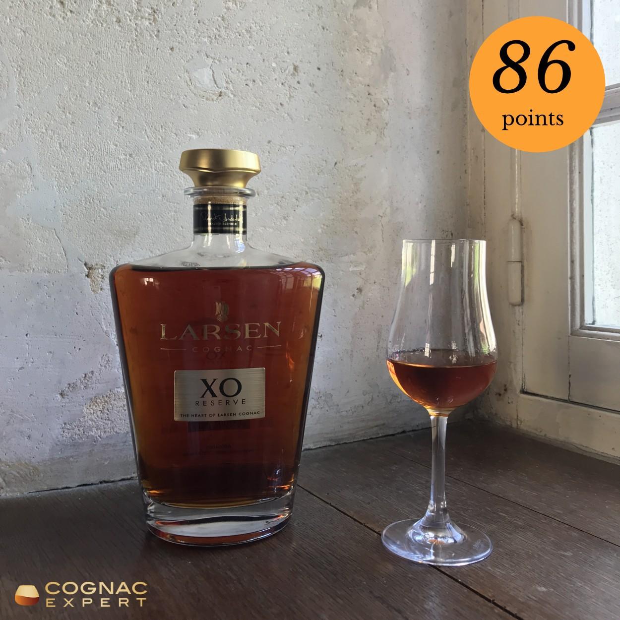 Larsen XO Cognac bottle and glass