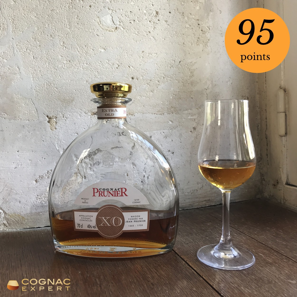 Prunier XO Cognac bottle and glass