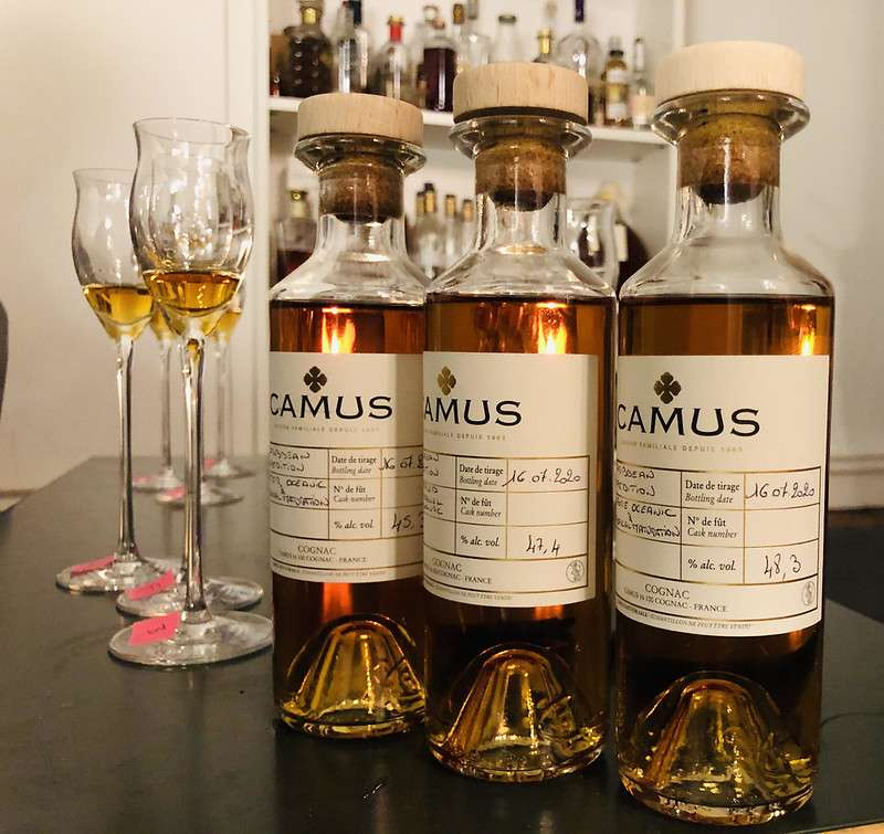 Bottles of Camus Cognac and glasses