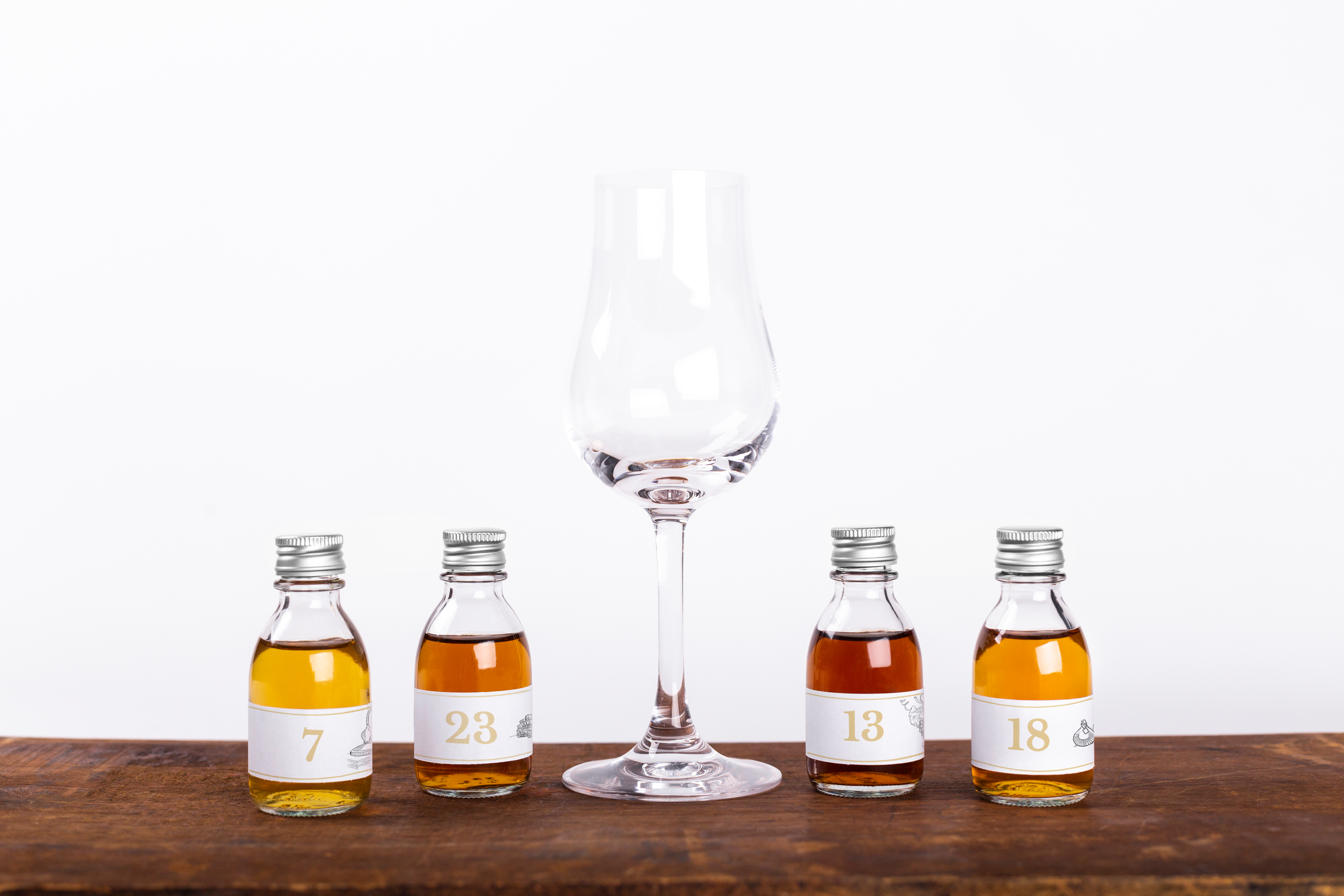 Cognac Expert sniffer glass with 4 sample bottles