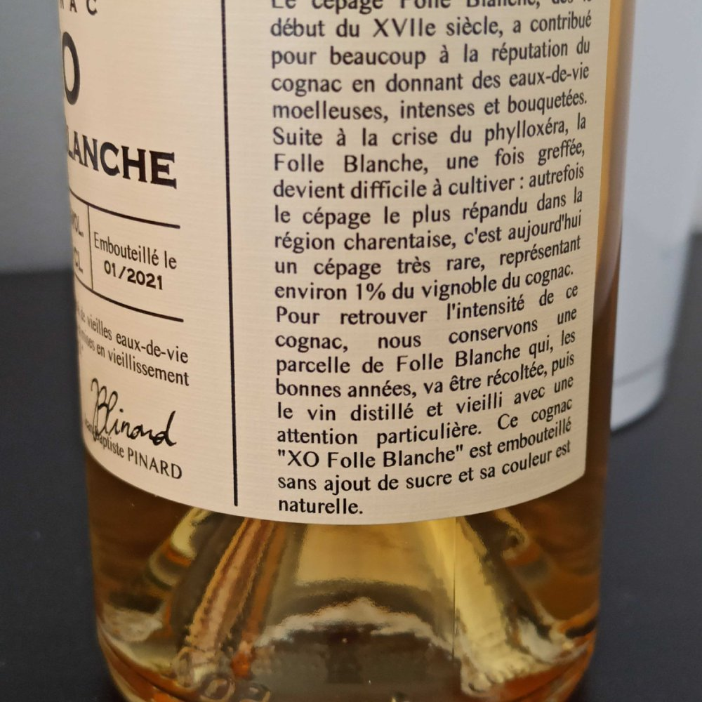 Guy Pinard XO Folle Blanche side label