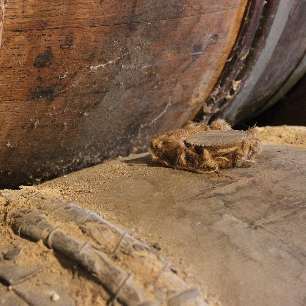 close up at a cognac barrel