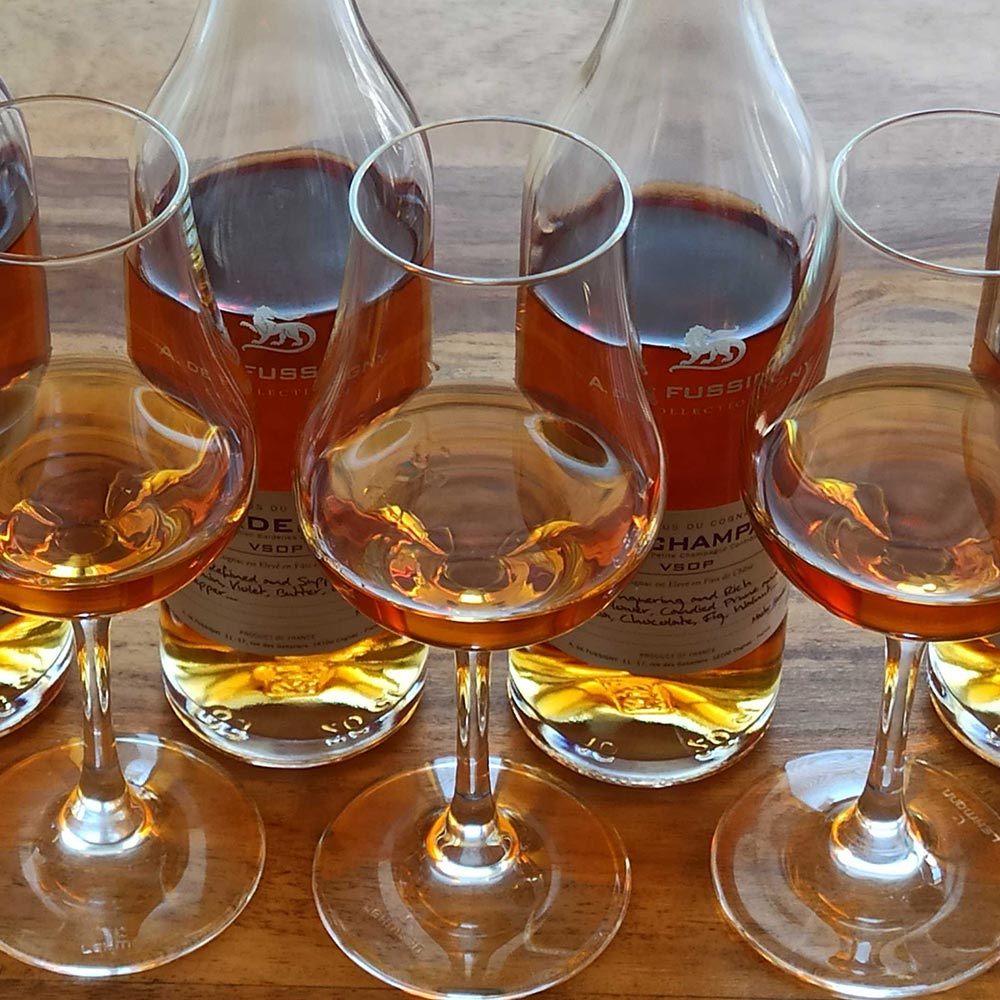A. de Fussigny cognac in glasses from above