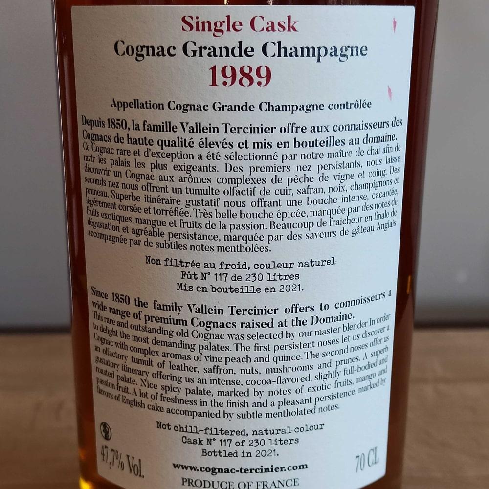 Vallein Tercinier Single Cask 1989 back label