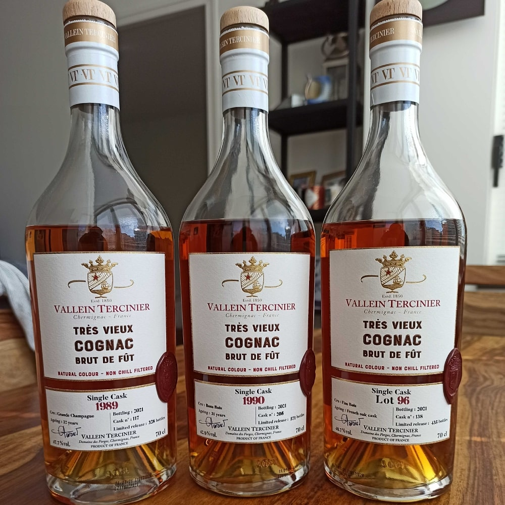 Vallein Tercinier 3 phenomenal Brut de Fût Cognacs