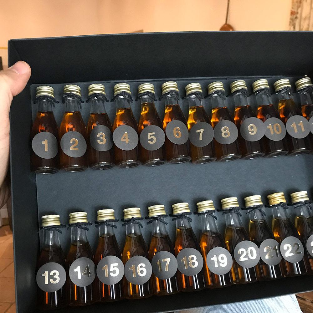 2019 Premium Cognac Calendar open bx with new mini bottle